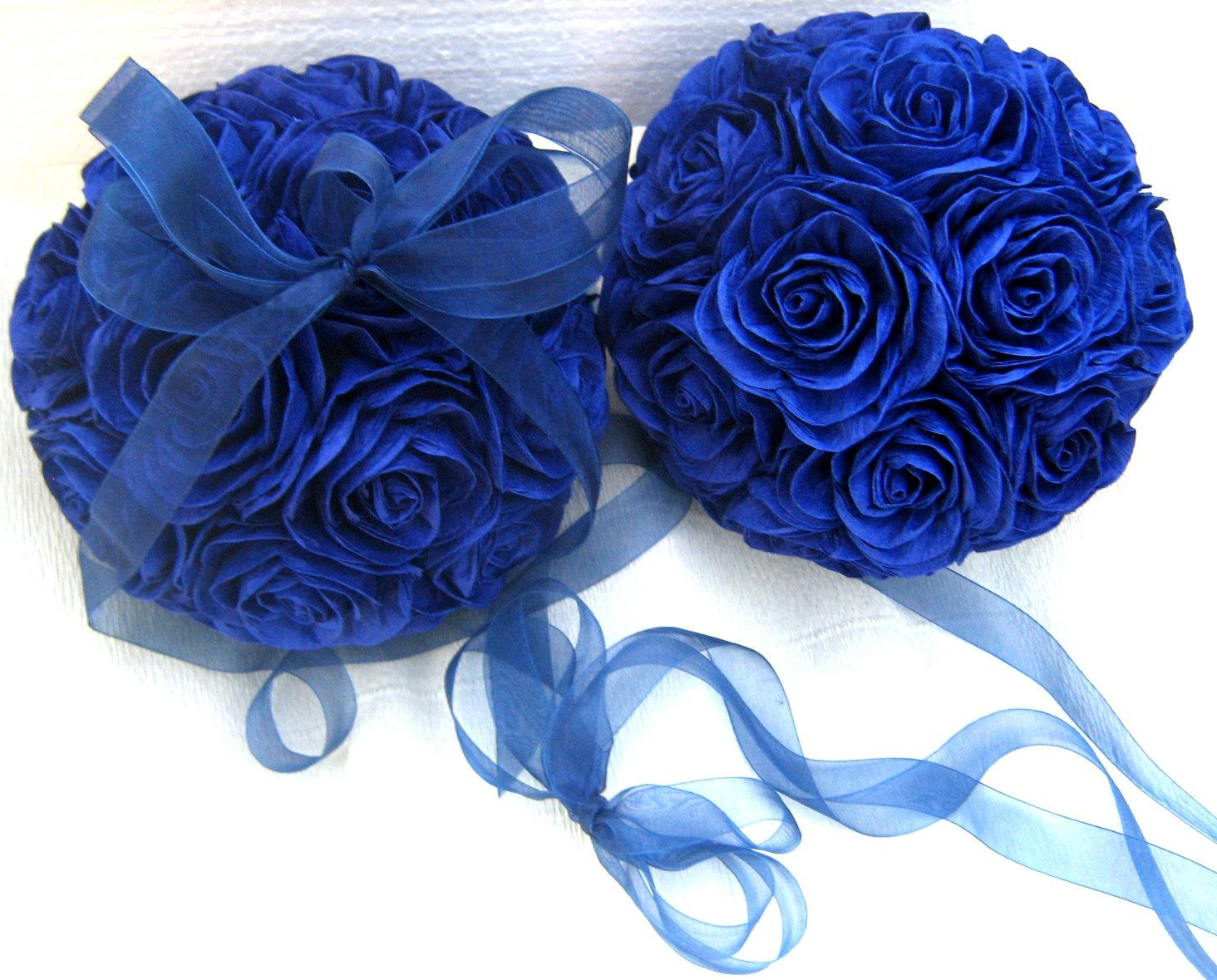 1 Kissing Ball Royal Navy Midnight Blue Crepe Paper Flower Ball Baby