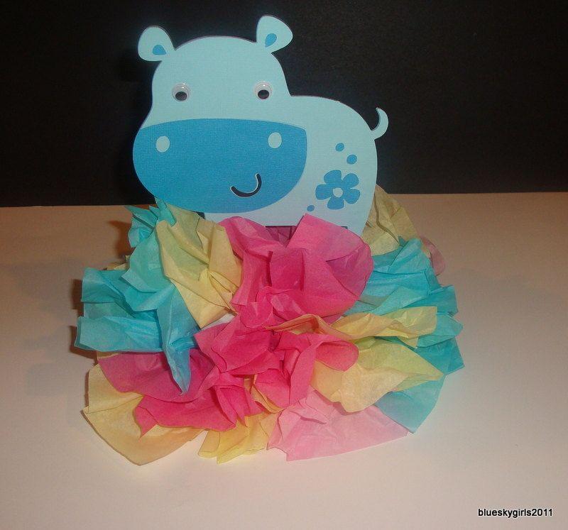 Hippo centerpiece decoration kit diy complete birthday