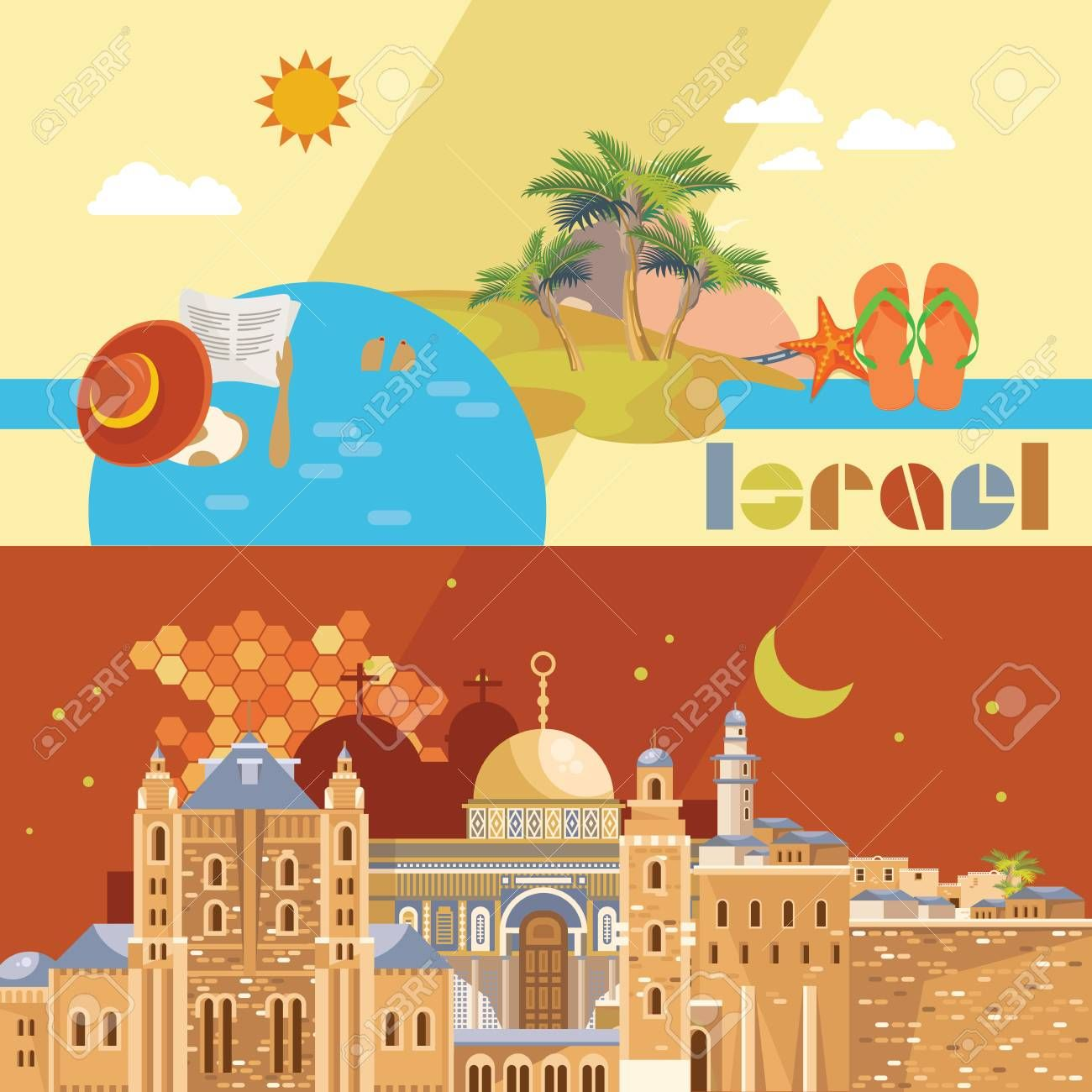 Israel vector banner with jewish landmarks Travel poster in flat design