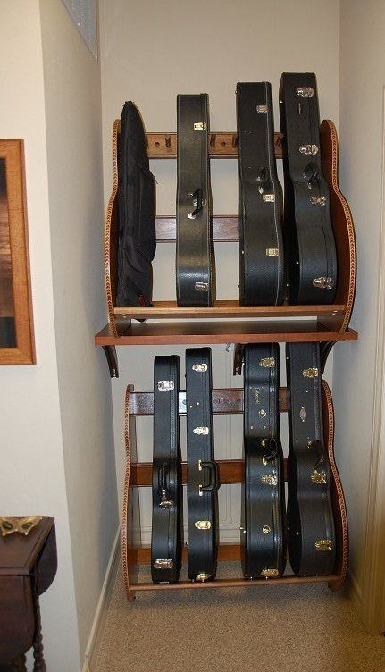 This customer built shelves for their studio guitar case for Homemade rack case