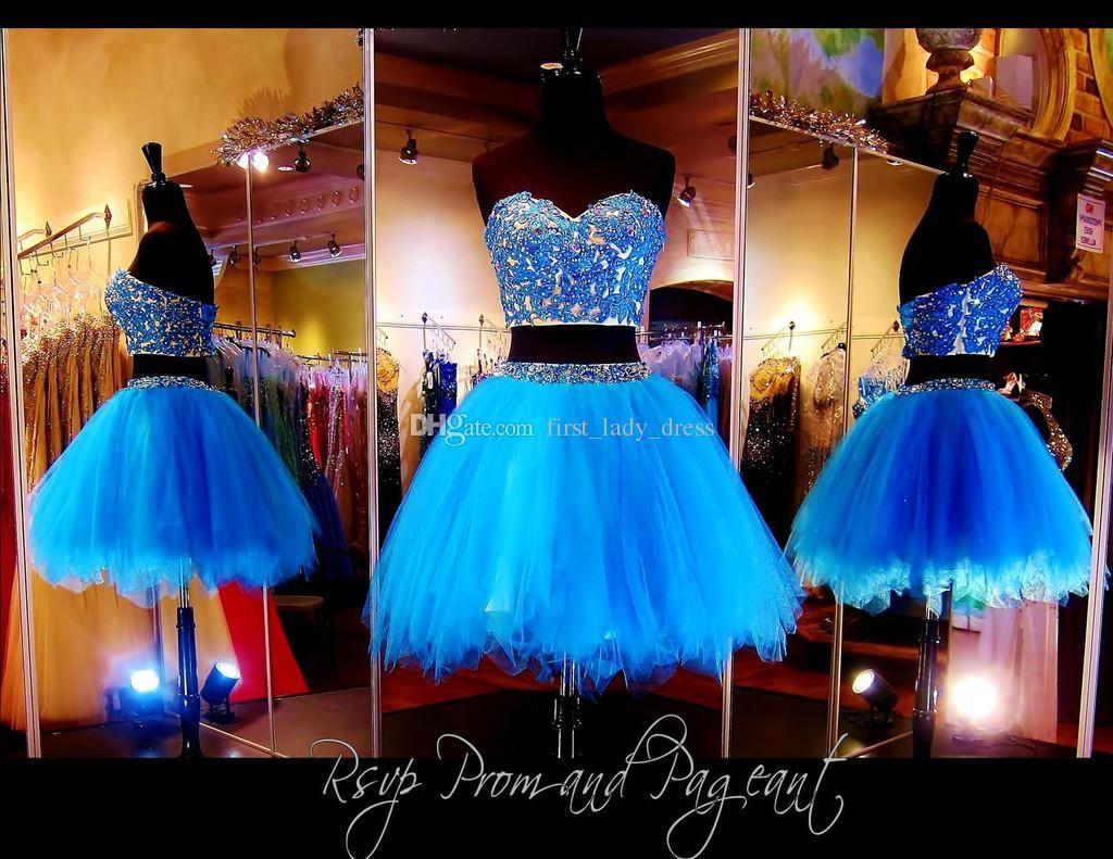 Two pieces blue sweetheart a line short graduation dresses