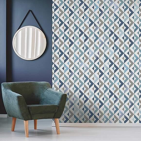 Scandi Blue Geo Wallpaper Geo wallpaper, Stunning