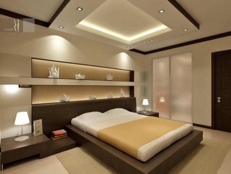 Simply Minimalist Bedroom For Men With Less Furniture And Modern Lighting Fixtures De Bedroom False Ceiling Design Ceiling Design Bedroom Modern Bedroom Design