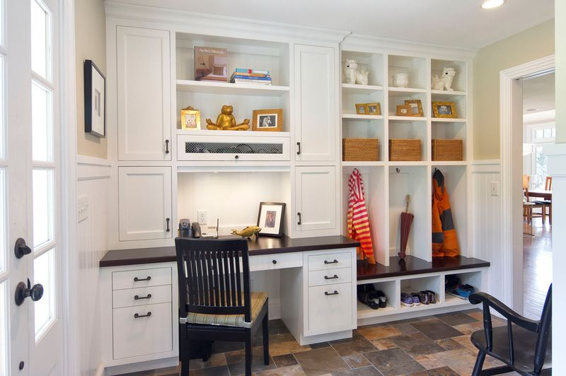 Built In Cubbies Hooks And Baskets Give Everyone Room To Store Coats Shoes Hats Gloves And Sports Equipme Mudroom Laundry Room Built In Desk Mudroom Design My office space in mudroom
