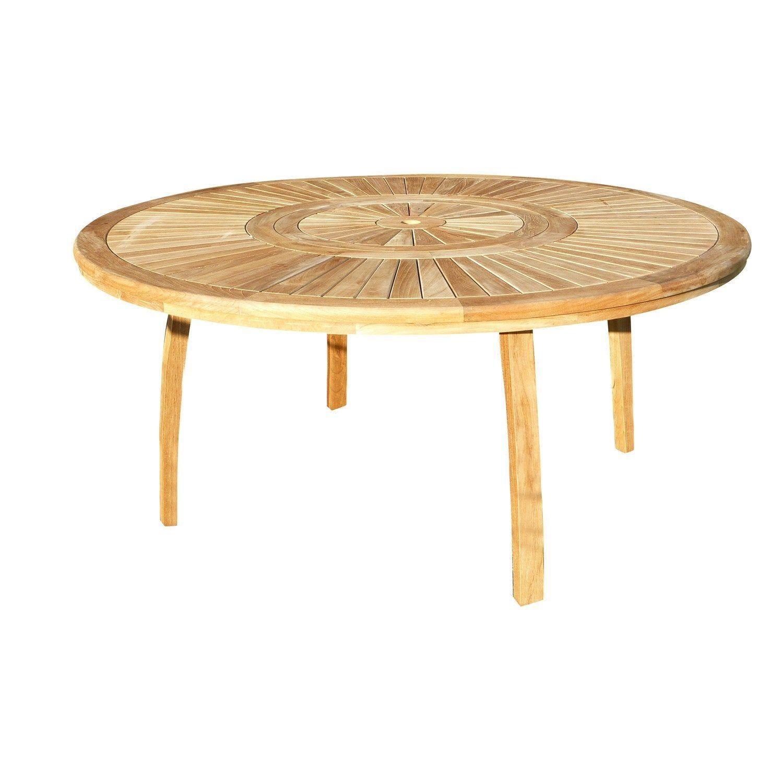 Table De Jardin De Repas Orion Ronde Naturel 8 Personnes Table