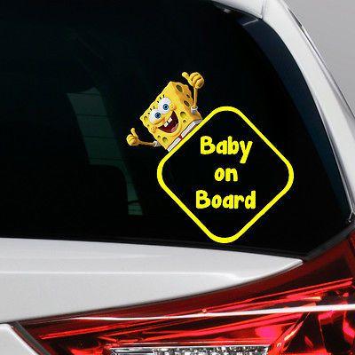 SpongeBob Baby On Board Funny Novelty Car Bumper Window Sticker - Spongebob decals for cars