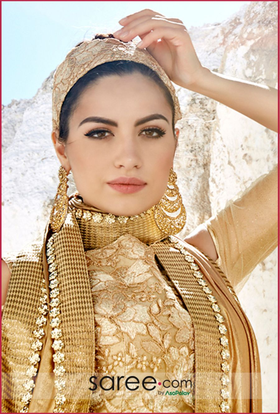 Golden saree blouse design golden high neck blouse  designer blouses ideas  in