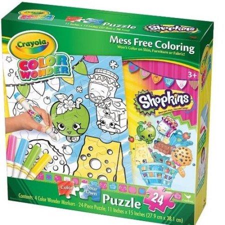 Crayola Color Wonder Shopkins Color Your Own 24 Piece Puzzle Walmart Com Color Wonder Shopkins Crayola