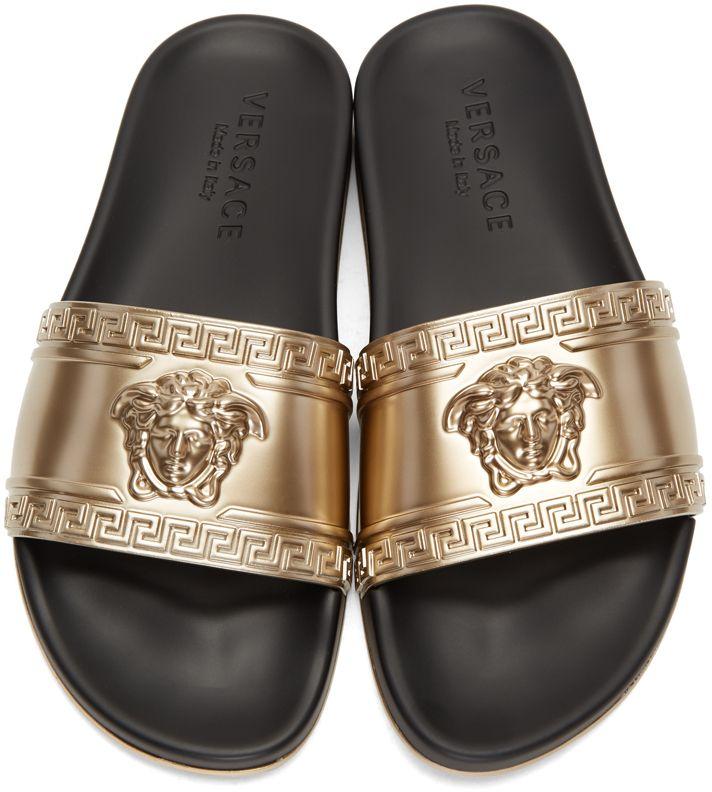 Versace: Gold Medusa Slide Sandals