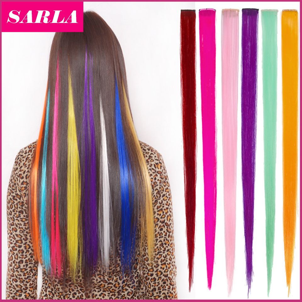 1pc Straight Synthetic Clip In Hair Extensions 20inch 50cm Heat