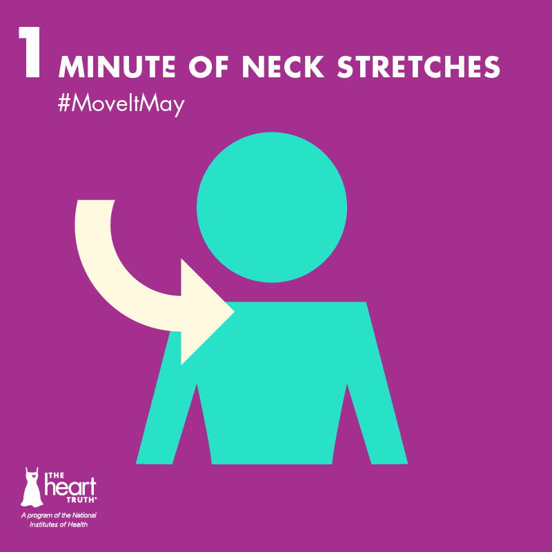 #MoveItMay Day 1: Sitting at a desk all day? Do 1 minute of neck stretches  to relieve muscle stiffness. #stretch
