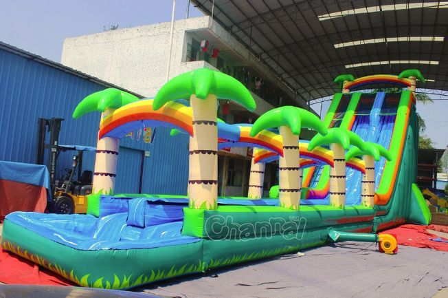 Palm Tree Shore Inflatable Water Slide Channal Inflatables Water Slides Backyard Inflatable Water Slide Water Slides