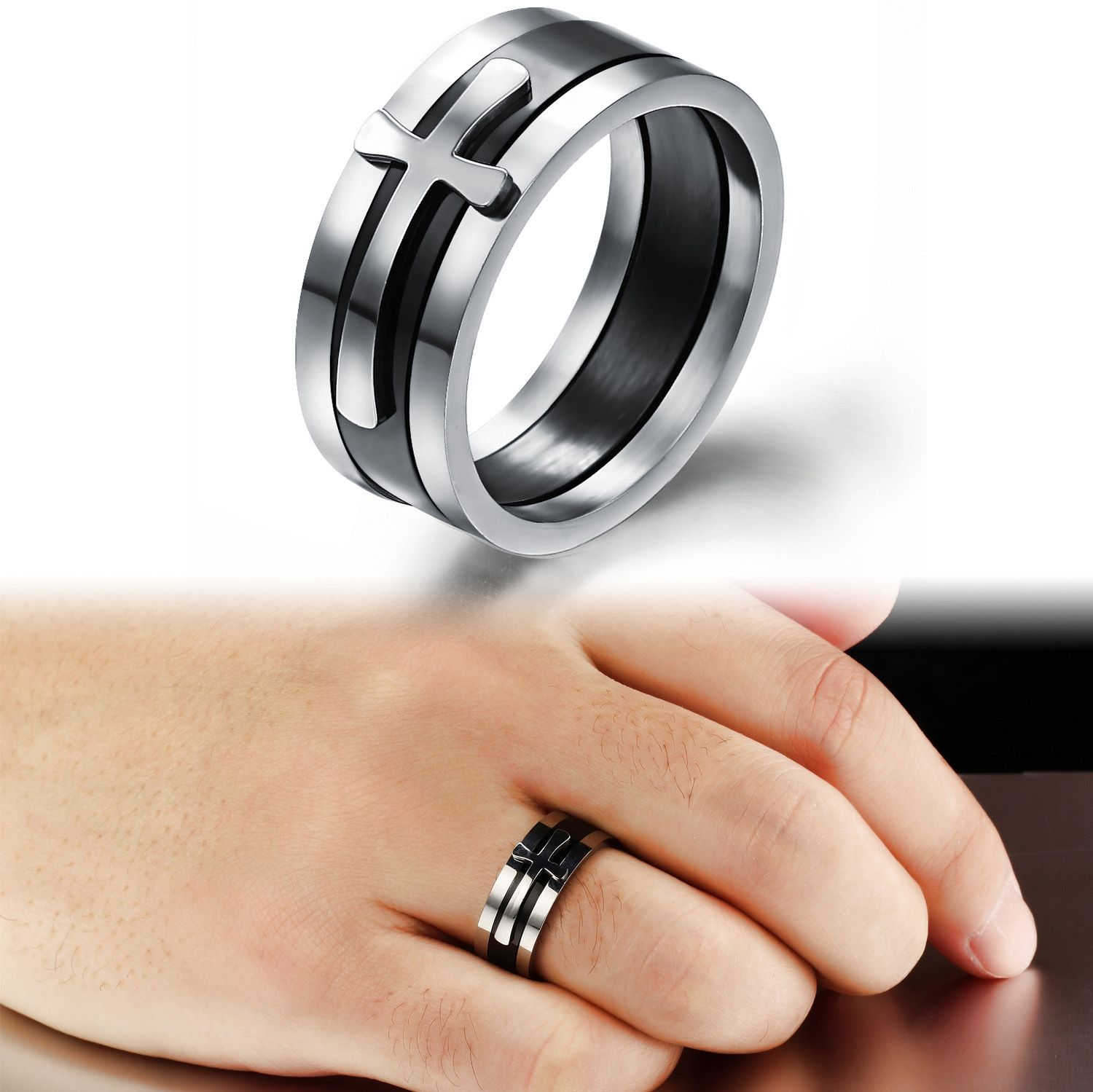 Special Three In One Design Cross Ring Men Classic Steel Wide ...