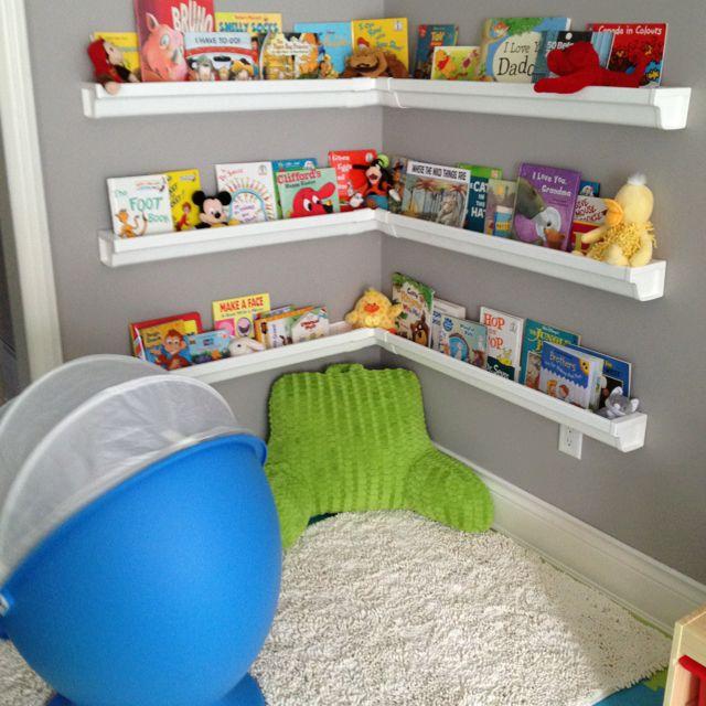Kids Bedroom Reading Corner reading corner. book shelves hubby made from rain gutters! turned
