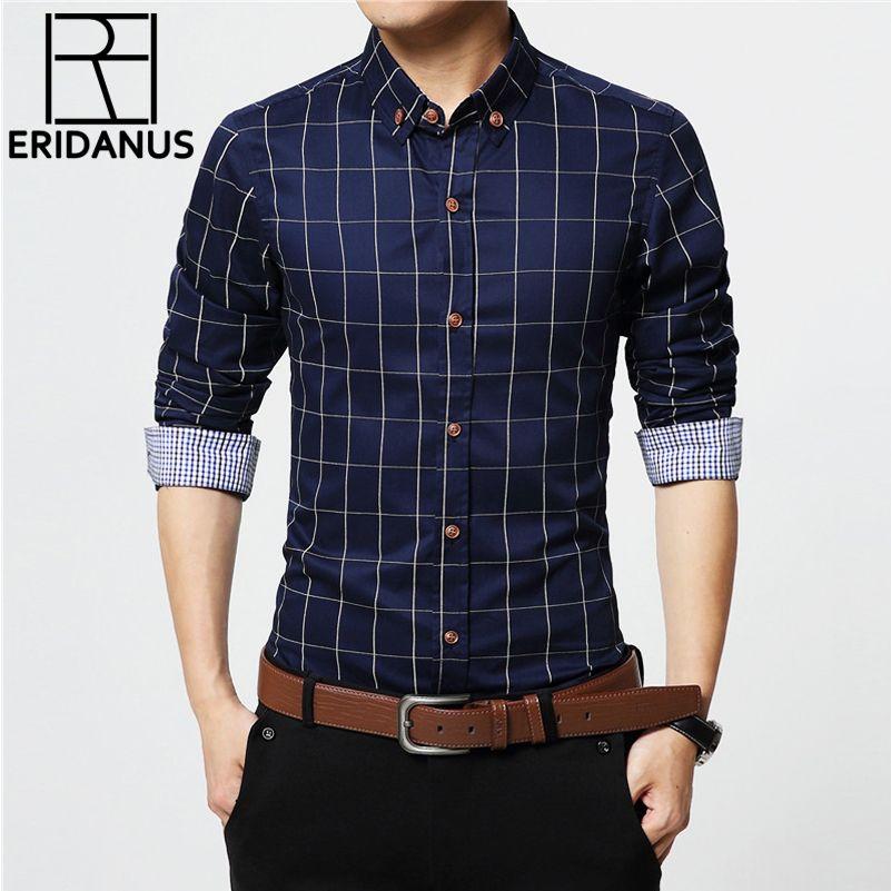 ERIDANUS 2016 Men's Plaid Cotton Dress Shirts Male High Quality ...