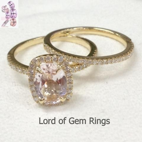 Oval Morganite Engagement Ring Sets Pave Diamond Wedding 14K Yellow
