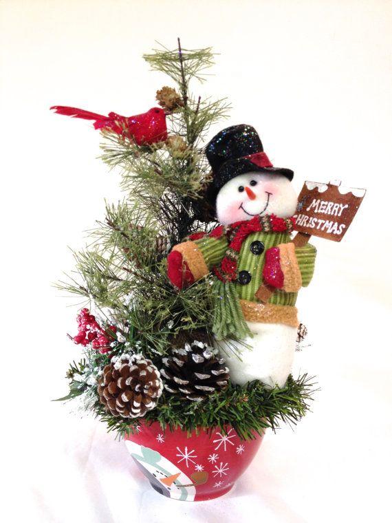 Snowman Arrangement Holiday Winter Centerpiece