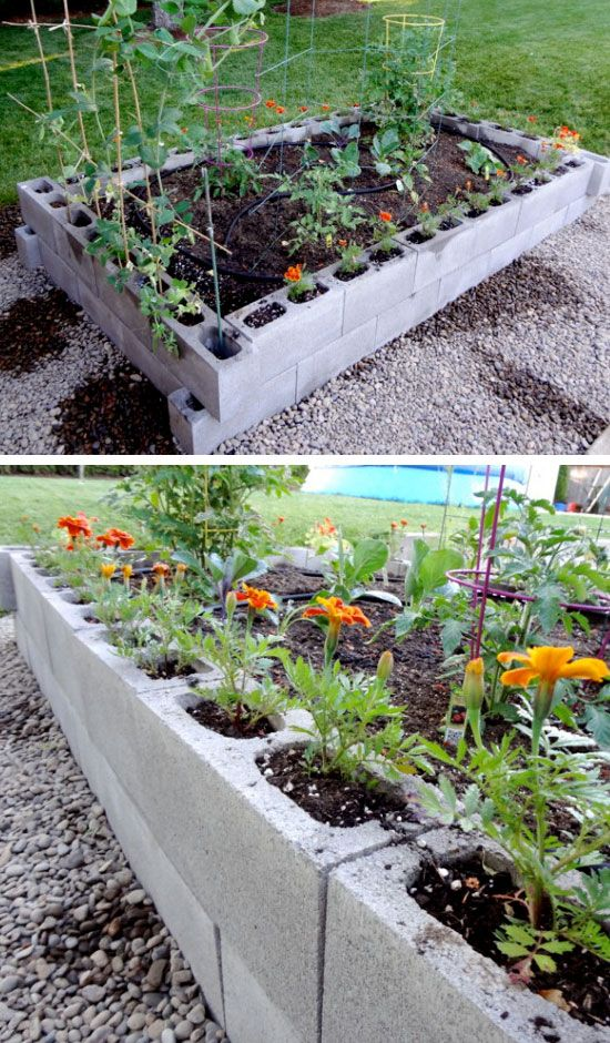 20 genius diy garden ideas on a budget diy backyard ideas raised garden beds and cinder blocks. Black Bedroom Furniture Sets. Home Design Ideas