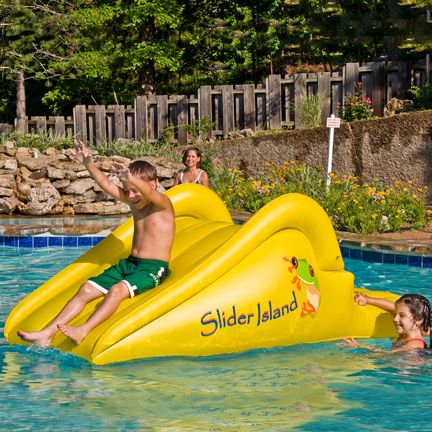 Slick slider island inflatable water slide swimming pool - Above ground swimming pool rental ...