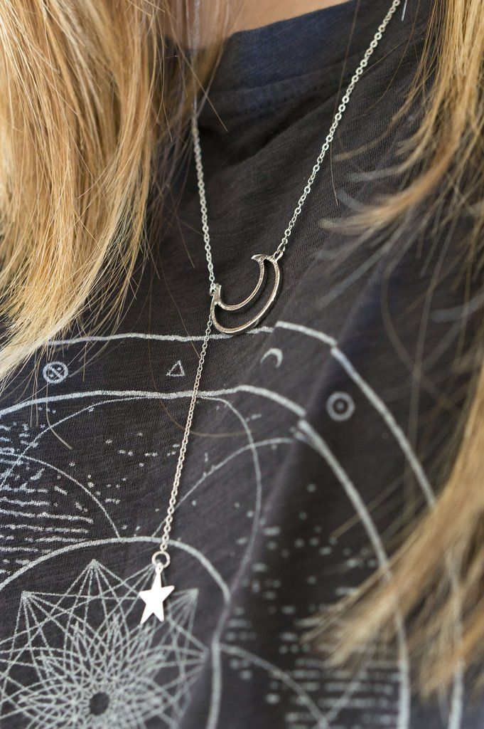 Moon and Stars Lariat Necklace