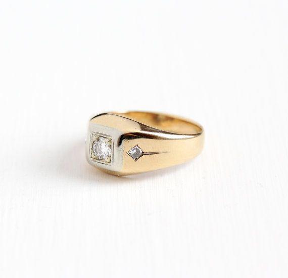 Vintage 14k Rosy Yellow White Gold Mens Diamond Ring Retro