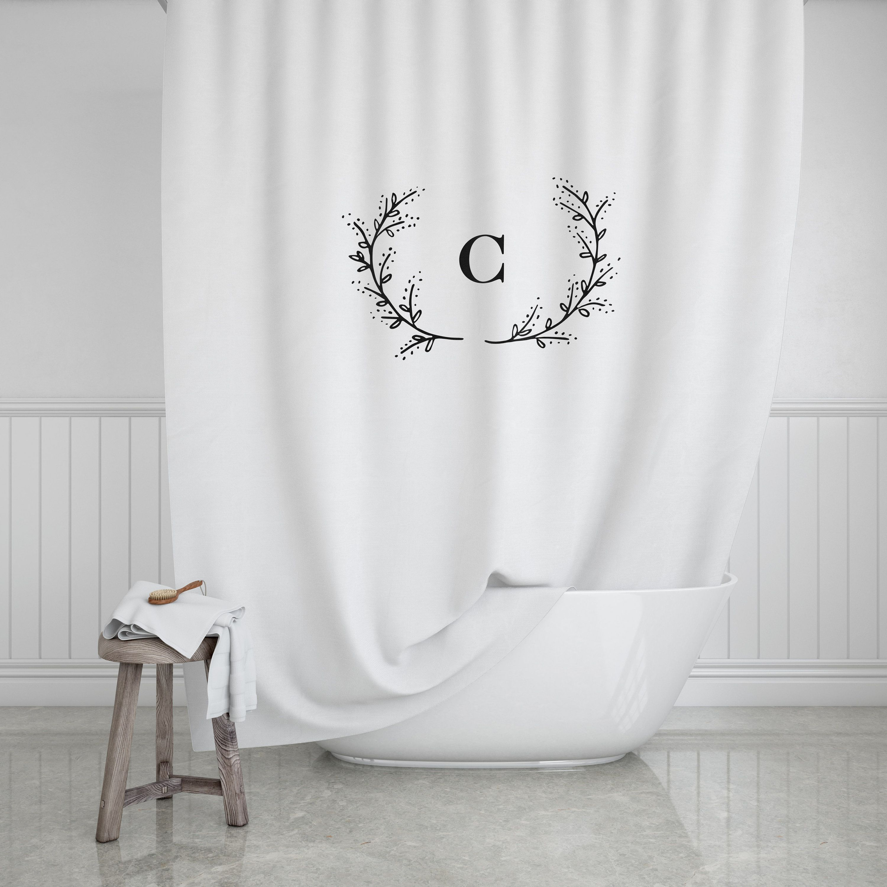 Laurel Branch Monogram Shower Curtain Custom Bath