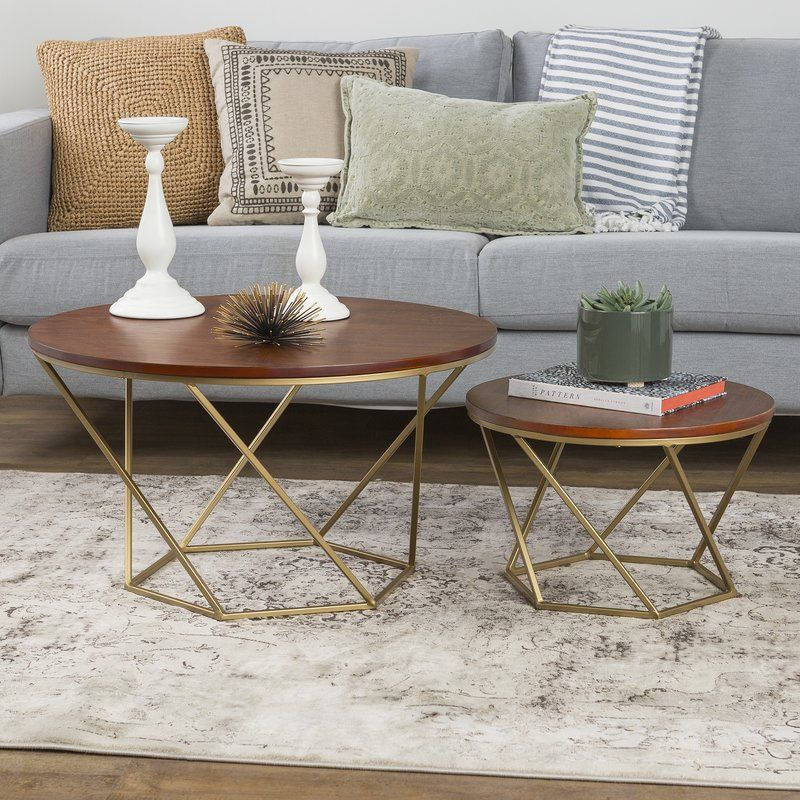 Best Dunavant Wood 2 Piece Coffee Table Set With Tray Top 640 x 480