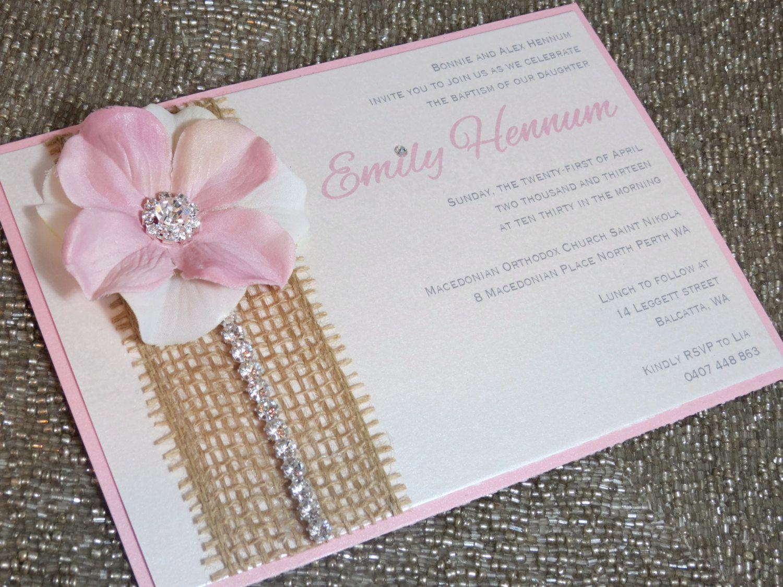 bridal shower flower invitation crystal trim burlap invitation baby