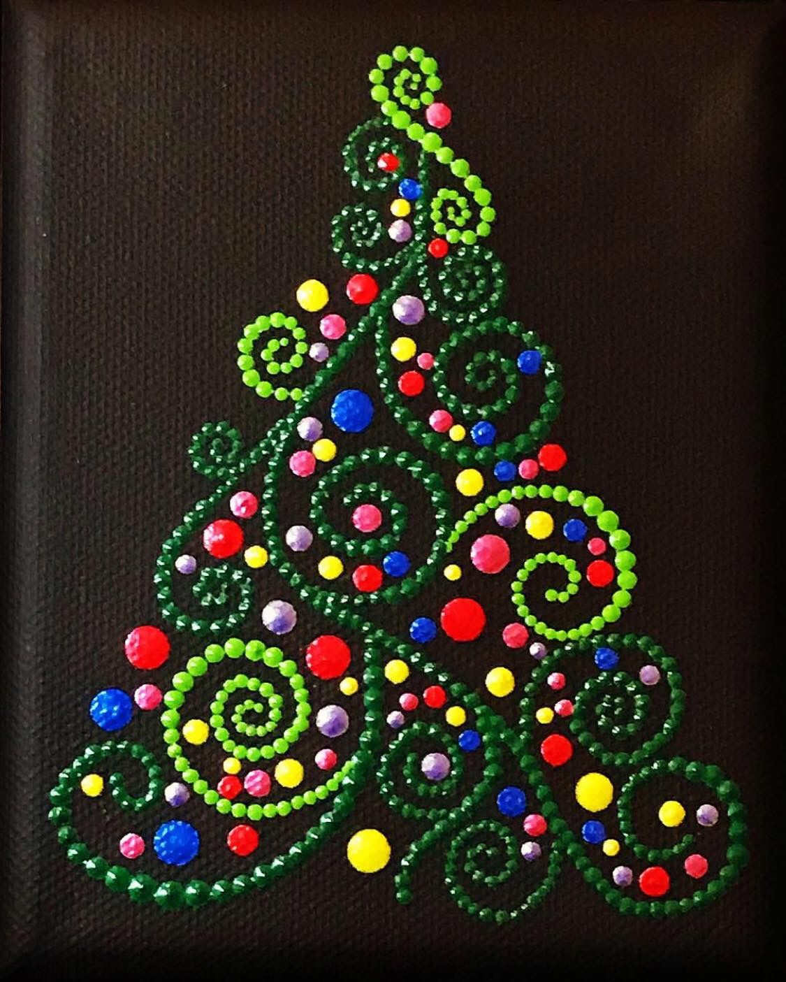 Dot Art Christmas Tree Christmas Tree Painting Christmas Paintings Christmas Mandala