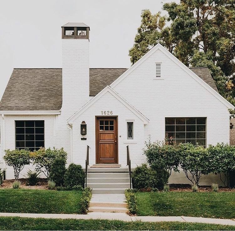 Painted White Brick House Home Modern Farmhouse