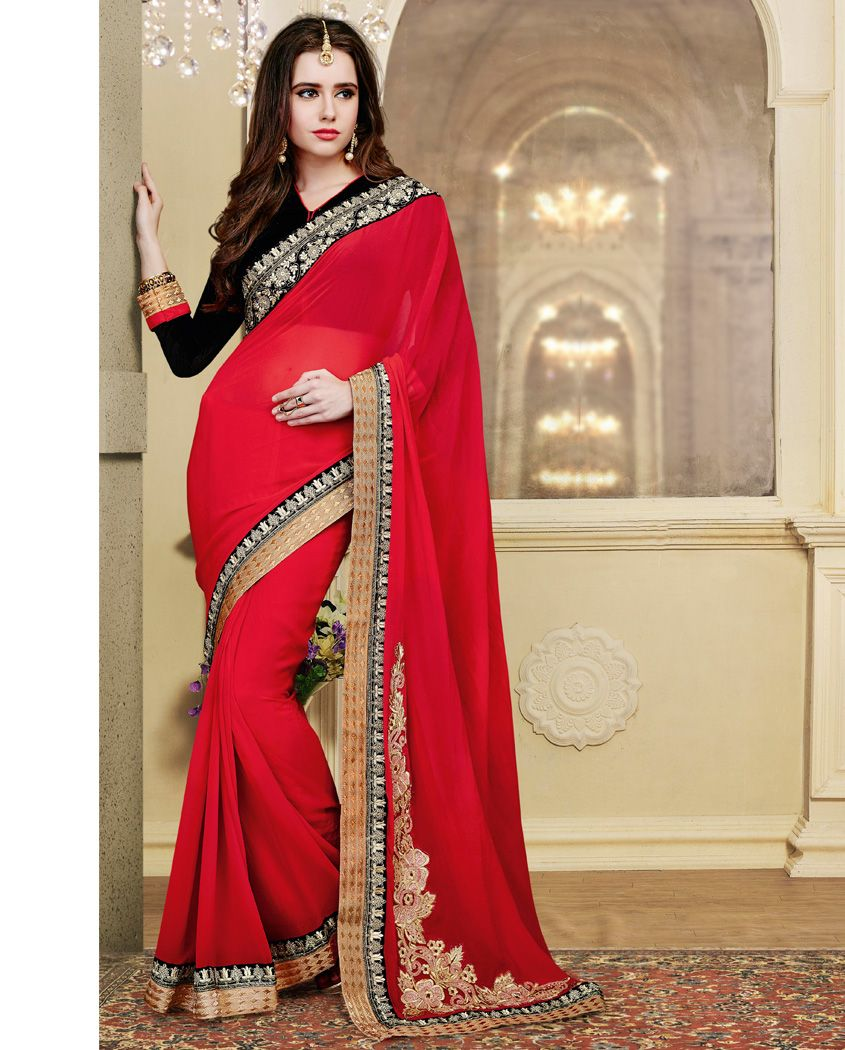 red and black designer georgette shine sari heavy embroidery