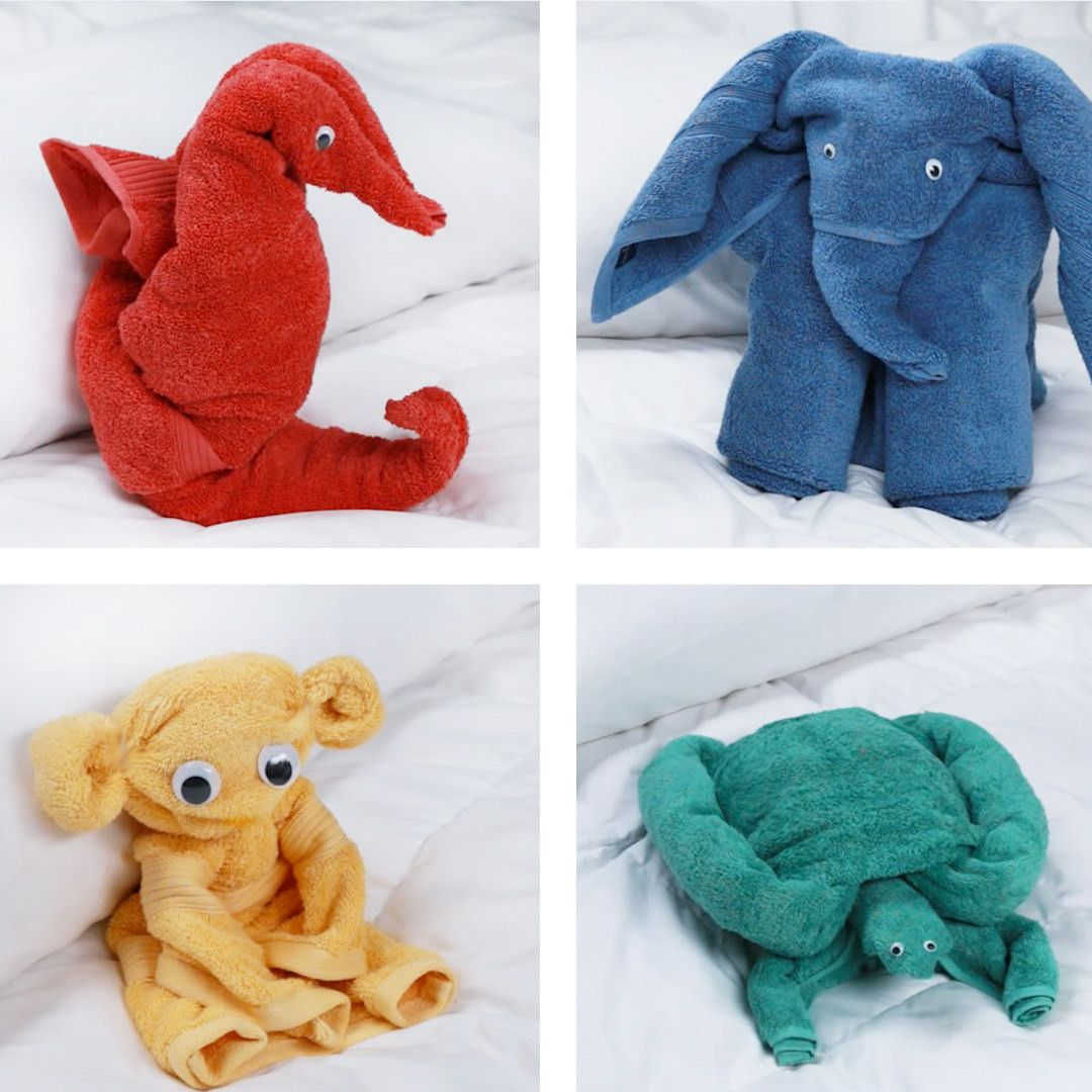 Fold Bath Towels Into Adorable Animals | Adorable animals, Towels ...
