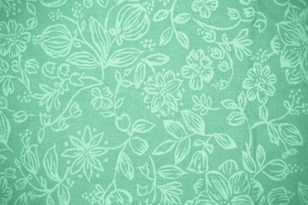 Mint Green Fabric with Floral Pattern Texture