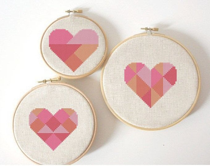 geometric modern cross stitch pattern heart, valentine heart, small ...
