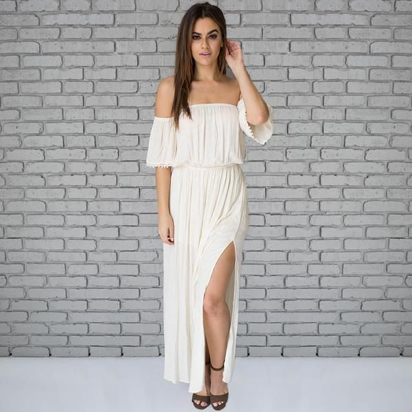 887d24d128b1 Off Shore Off Shoulder Maxi Dress In Cream