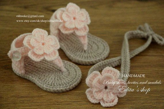 41713bb7113e6 Crochet baby sandals and headband set, gladiator, booties, shoes ...