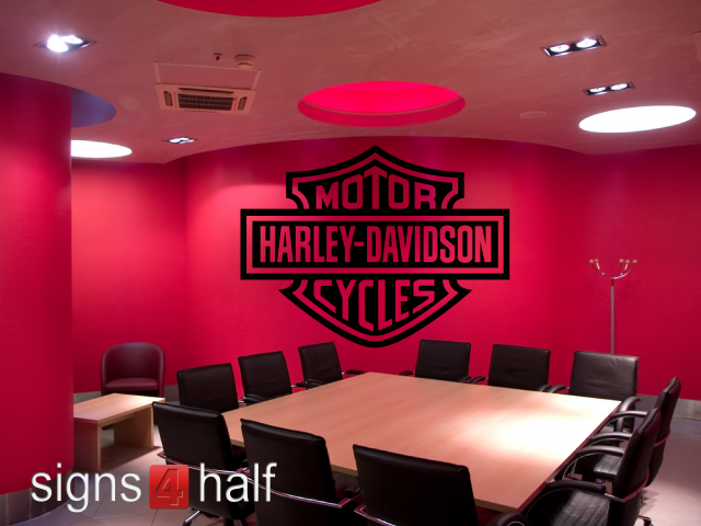 Harley Davidson Removable Wall Decor Vinyl Decal Signs Half - Custom vinyl wall decals for garage