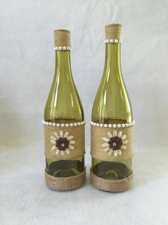 Burlap decorated wine bottle set by AllBottledUpArt on Etsy