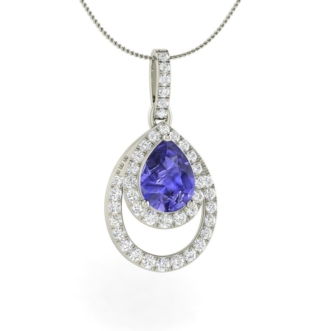 Natural oval cut tanzanite u diamond pendant necklace in white