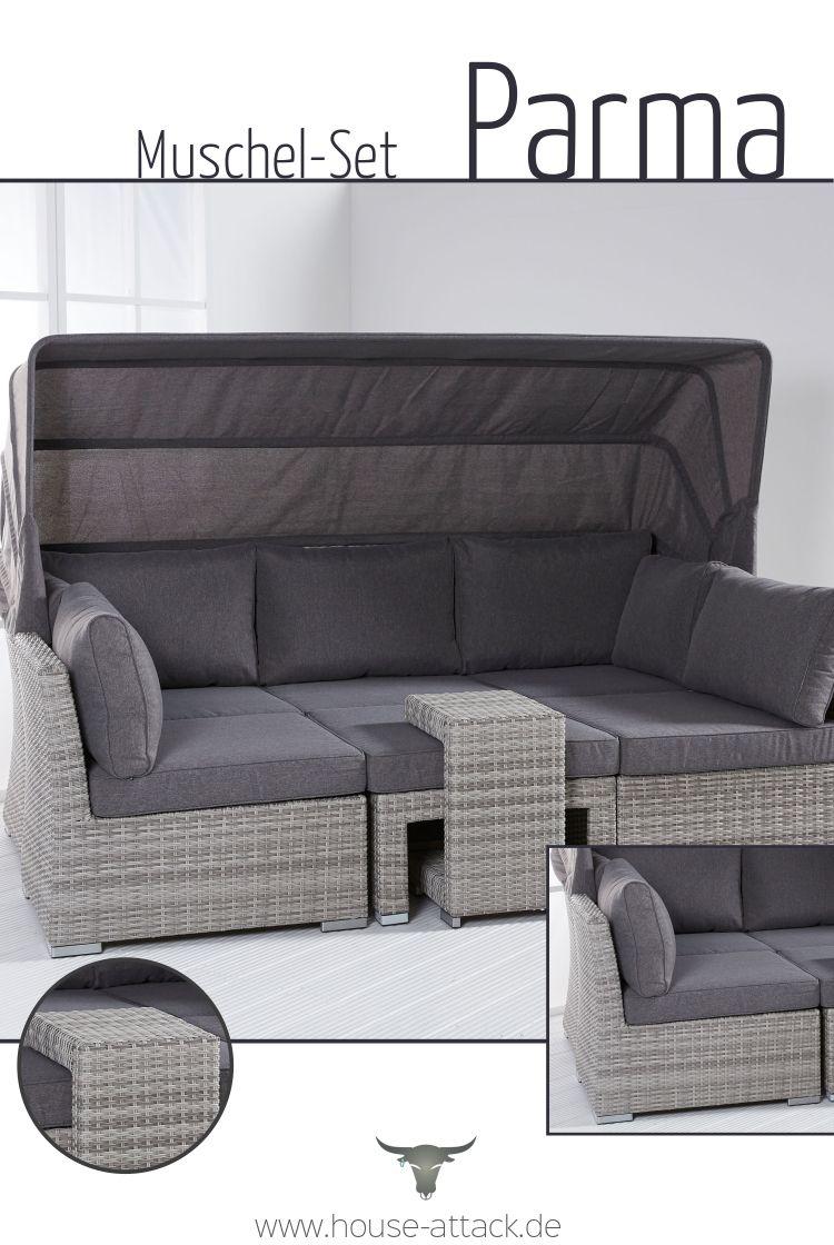 5 Tlg Gartenmuschel Set Parma Sitzgruppe Gartenmuschel Lounge Mobel