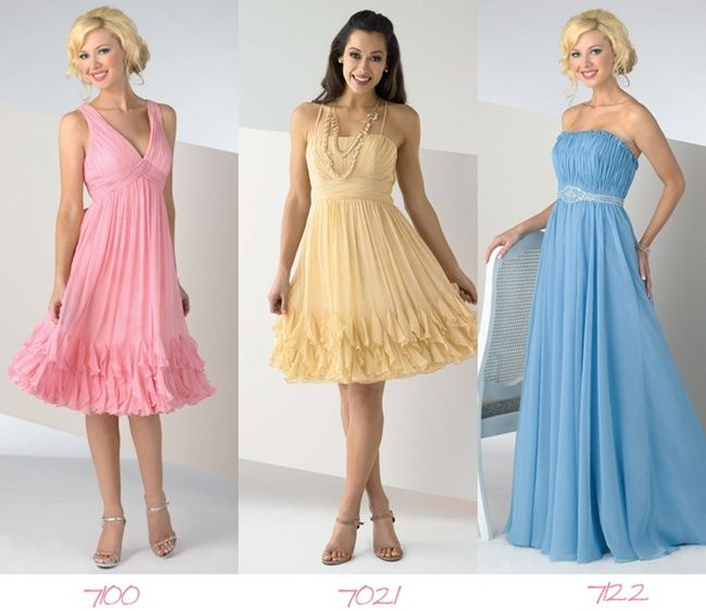 Pastel-colored gowns