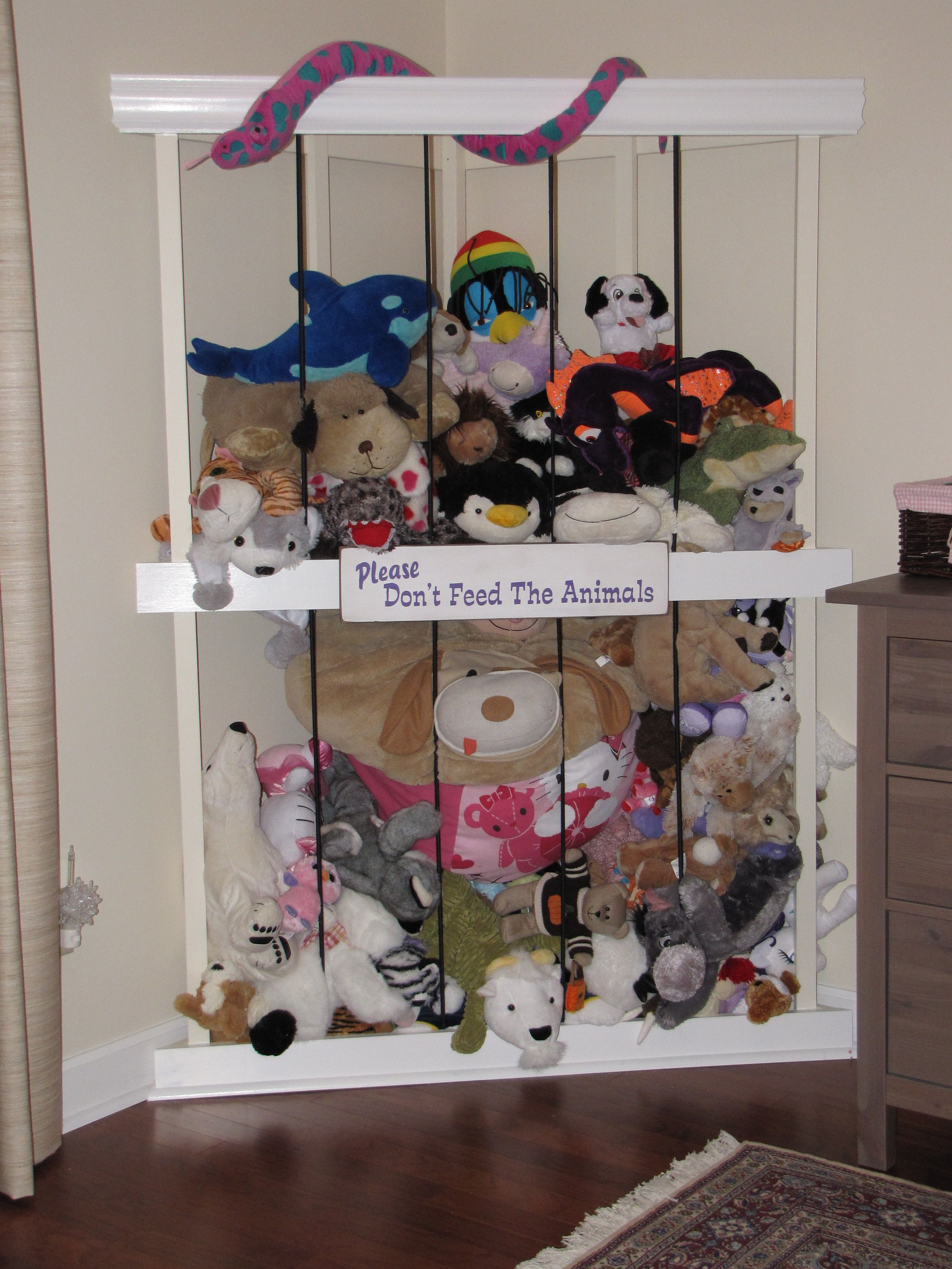 Stuffed Animal Zoo My Husband Built This Corner Fit Zoo Based On Some Other Designs We Saw Posted On Pinterest Zoo Animals Stuffed Animal Storage Playroom