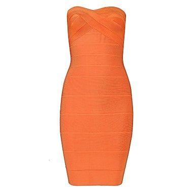 Naranja sin tirantes atractivo del vestido del vendaje de Bodycon – USD $ 60.89