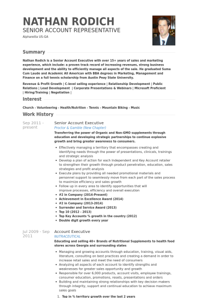 senior account executive Resume example  new year 2018