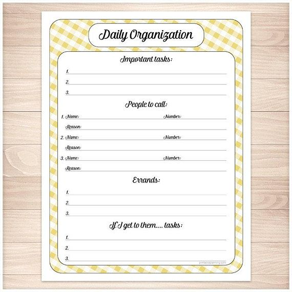 yellow printable daily task sheet yellow gingham full page daily