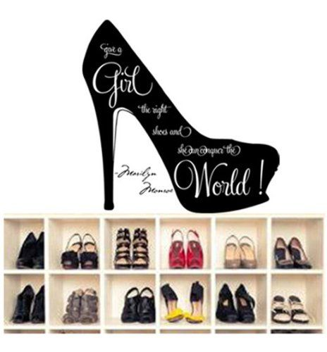 """Innovational Marilyn Monroe wall quote """"Give a girl the right shoes and she can conquer the world"""" girl's room quote decor words vinyl letters in high heels life inspirational motto for girls wall sign (black) walldecorer http://www.amazon.com/dp/B00KPFOA4C/ref=cm_sw_r_pi_dp_rf24ub0BBK300"""