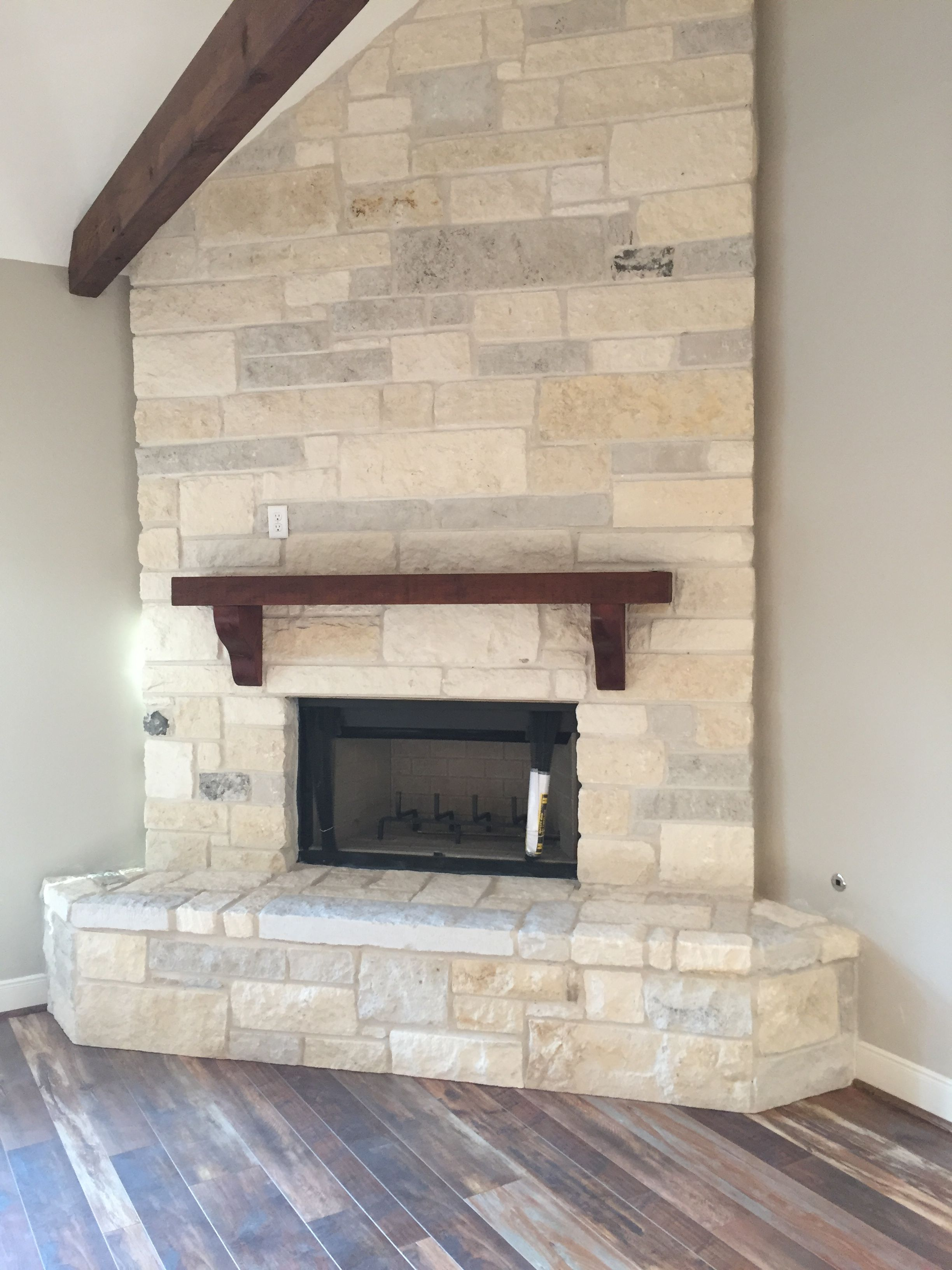 Stone Fireplace And Cedar Mantle Modern Farmhouse Living Room