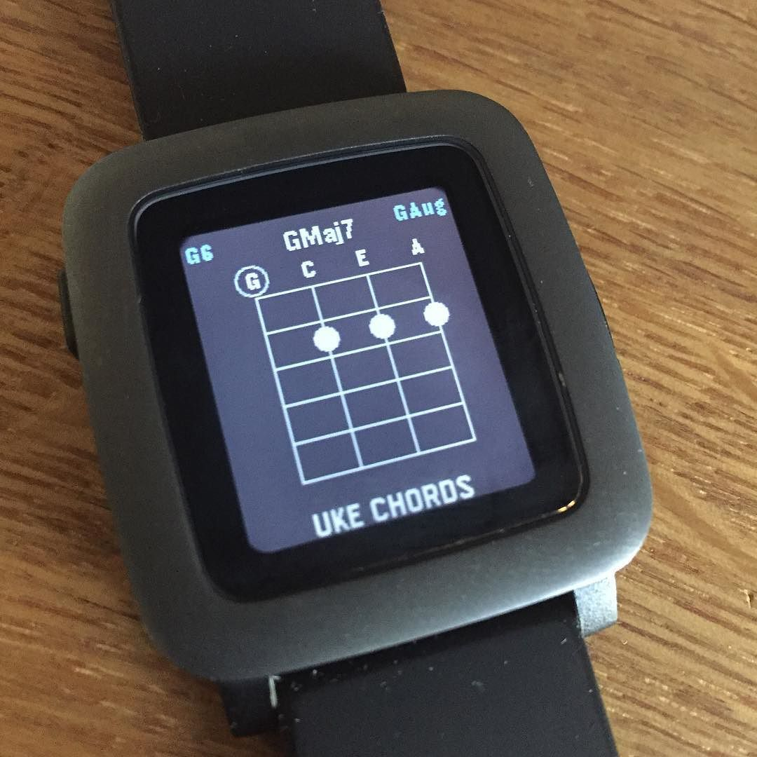 Ukulele chords app on my Pebble! How's that for #mobilemusic !