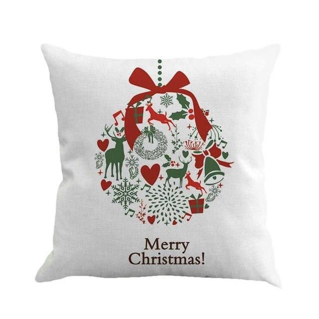 6 Pattern Christmas Theme Cotton Line Pillowcase Bedroom Sofa