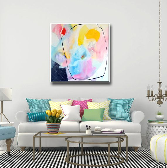 Large Abstract Canvas Print Wall Art Giclee Print From Etsy Floral Wall Art Canvases Pink Wall Art Floral Art Paintings Canvas for living room uk